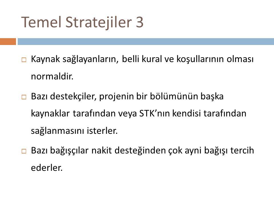 Temel Stratejiler 3  Kaynak sağlayanların, belli kural ve koşullarının olması normaldir.  Bazı destekçiler, projenin bir bölümünün başka kaynaklar t