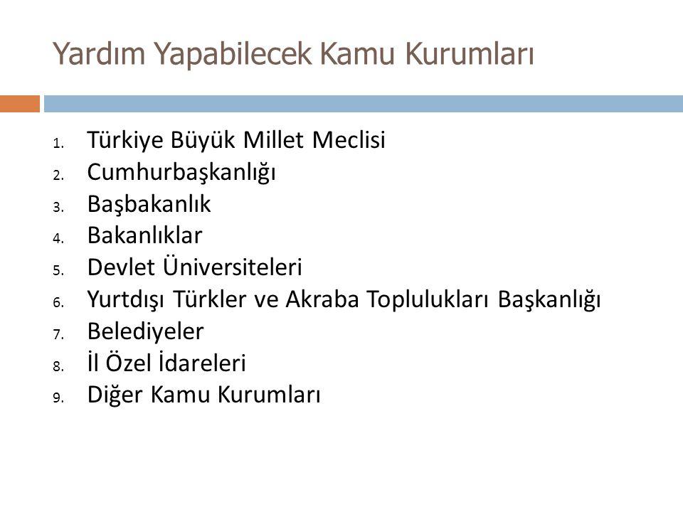 Yardım Yapabilecek Kamu Kurumları 1. Türkiye Büyük Millet Meclisi 2. Cumhurbaşkanlığı 3. Başbakanlık 4. Bakanlıklar 5. Devlet Üniversiteleri 6. Yurtdı