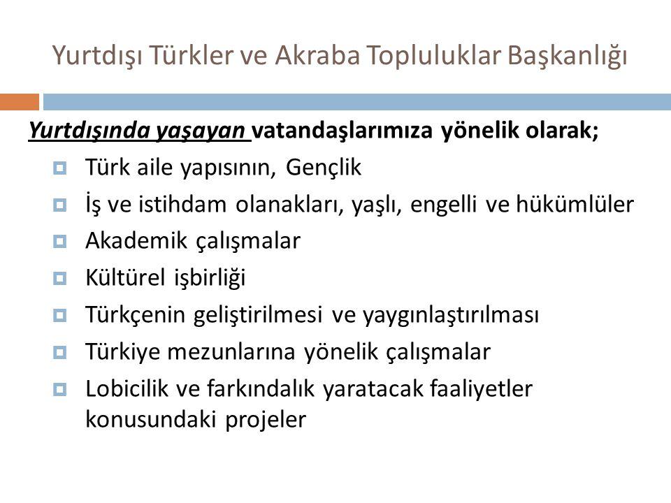 Yurtdışı Türkler ve Akraba Topluluklar Başkanlığı Yurtdışında yaşayan vatandaşlarımıza yönelik olarak;  Türk aile yapısının, Gençlik  İş ve istihdam