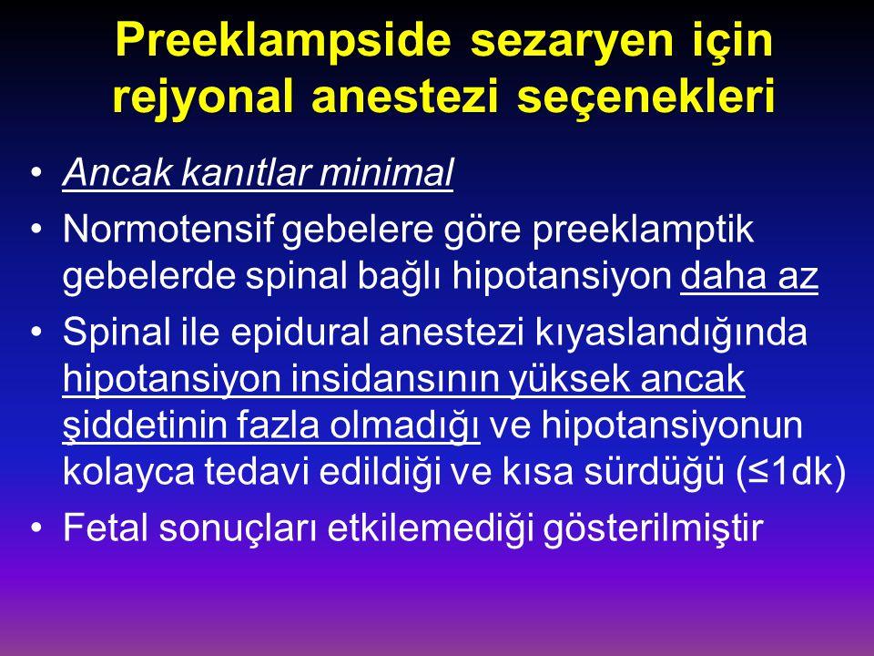 Preeklampside sezaryen için rejyonal anestezi seçenekleri Ancak kanıtlar minimal Normotensif gebelere göre preeklamptik gebelerde spinal bağlı hipotansiyon daha az Spinal ile epidural anestezi kıyaslandığında hipotansiyon insidansının yüksek ancak şiddetinin fazla olmadığı ve hipotansiyonun kolayca tedavi edildiği ve kısa sürdüğü (≤1dk) Fetal sonuçları etkilemediği gösterilmiştir