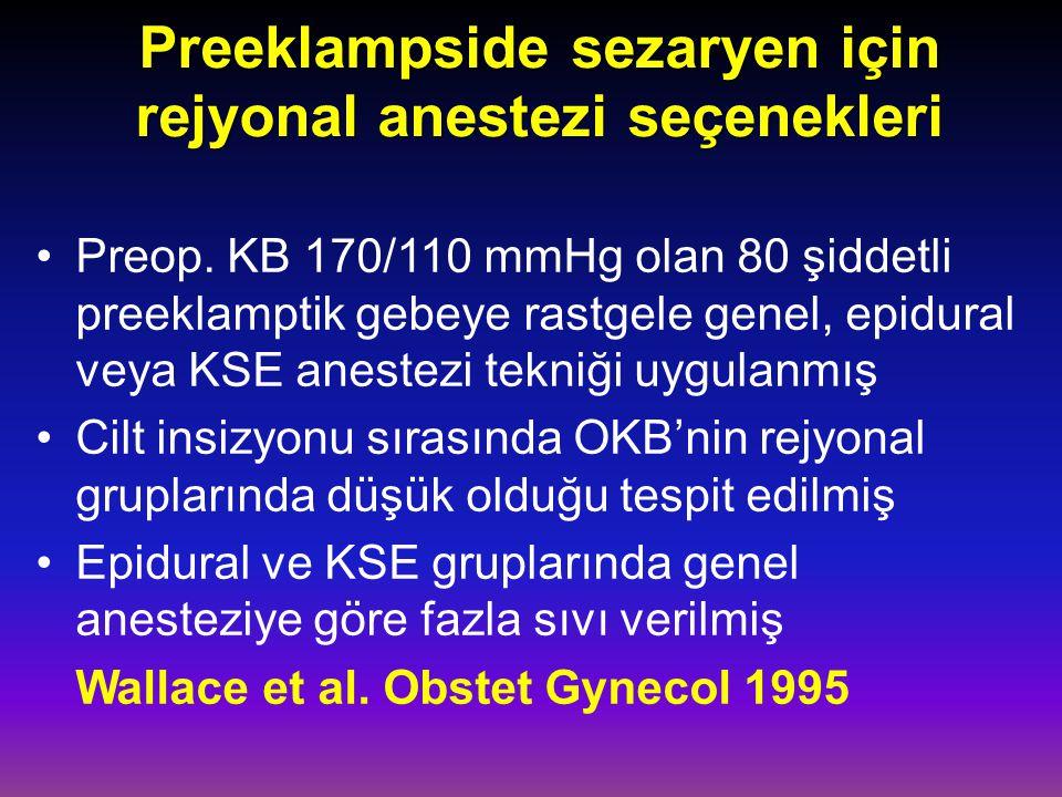 Preeklampside sezaryen için rejyonal anestezi seçenekleri Preop.