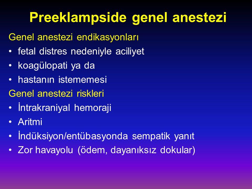 Preeklampside genel anestezi Genel anestezi endikasyonları Genel anestezi endikasyonları fetal distres nedeniyle aciliyet koagülopati ya da hastanın istememesi Genel anestezi riskleri İntrakraniyal hemoraji Aritmi İndüksiyon/entübasyonda sempatik yanıt Zor havayolu (ödem, dayanıksız dokular)