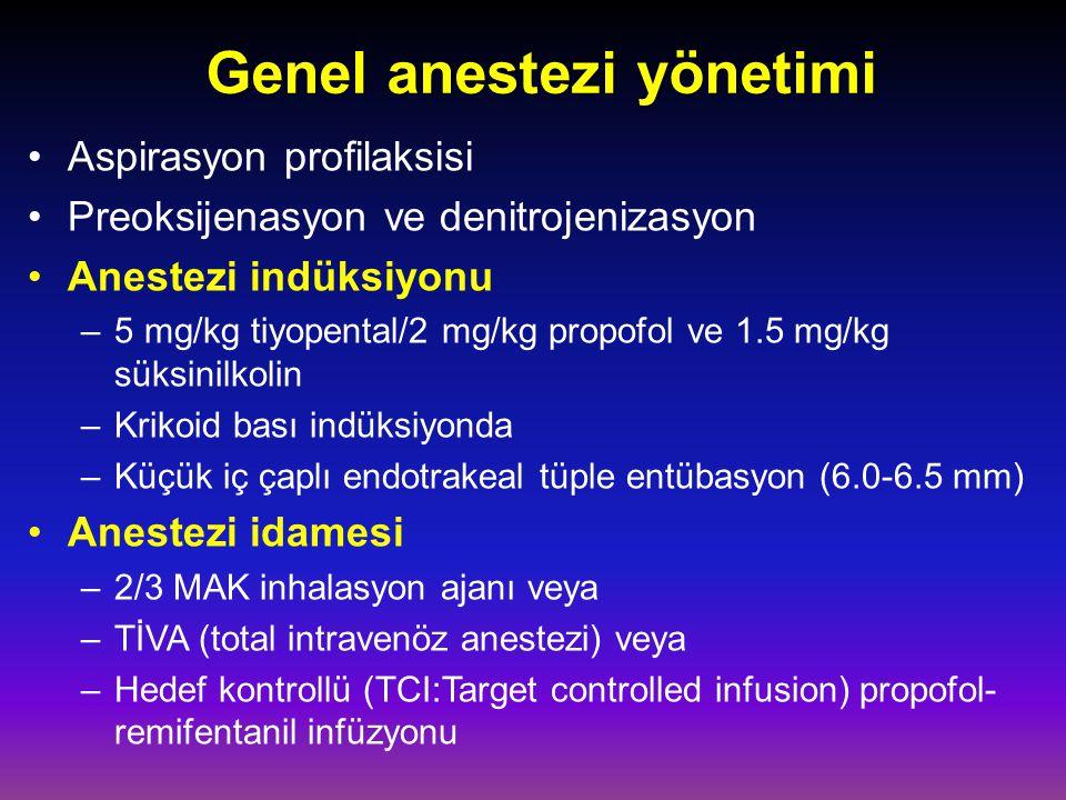 Genel anestezi yönetimi Aspirasyon profilaksisi Preoksijenasyon ve denitrojenizasyon Anestezi indüksiyonu –5 mg/kg tiyopental/2 mg/kg propofol ve 1.5 mg/kg süksinilkolin –Krikoid bası indüksiyonda –Küçük iç çaplı endotrakeal tüple entübasyon (6.0-6.5 mm) Anestezi idamesi –2/3 MAK inhalasyon ajanı veya –TİVA (total intravenöz anestezi) veya –Hedef kontrollü (TCI:Target controlled infusion) propofol- remifentanil infüzyonu