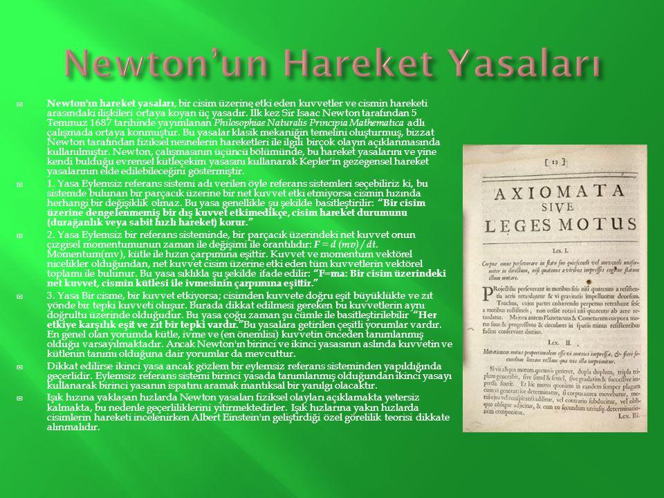  Newton'ın hareket yasaları, bir cisim üzerine etki eden kuvvetler ve cismin hareketi arasındaki ilişkileri ortaya koyan üç yasadır. İlk kez Sir Isaa