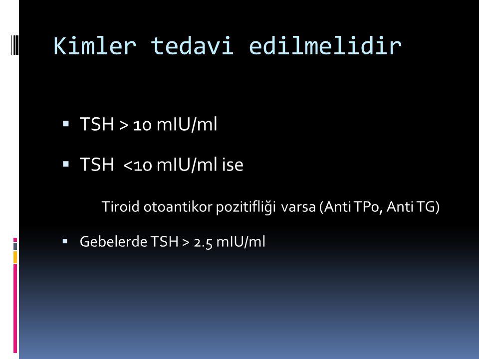Kimler tedavi edilmelidir  TSH > 10 mIU/ml  TSH <10 mIU/ml ise Tiroid otoantikor pozitifliği varsa (Anti TPo, Anti TG)  Gebelerde TSH > 2.5 mIU/ml
