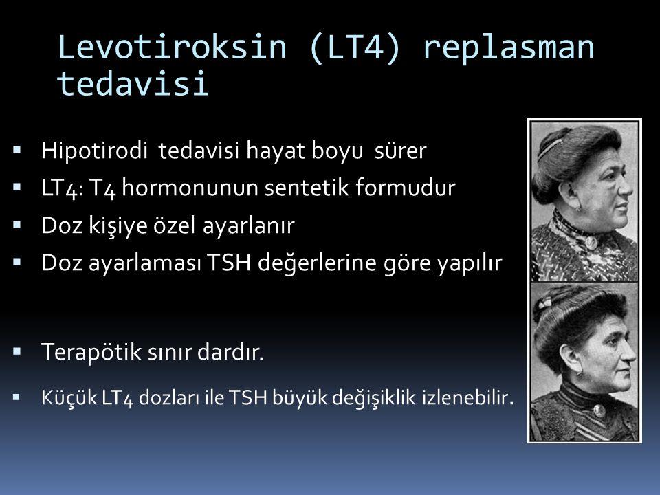 Levotiroksin (LT4) replasman tedavisi  Hipotirodi tedavisi hayat boyu sürer  LT4: T4 hormonunun sentetik formudur  Doz kişiye özel ayarlanır  Doz