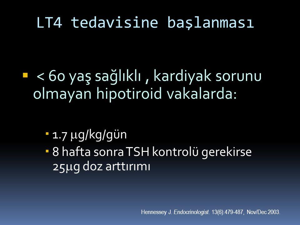 LT4 tedavisine başlanması  < 60 yaş sağlıklı, kardiyak sorunu olmayan hipotiroid vakalarda:  1.7  g/kg/gün  8 hafta sonra TSH kontrolü gerekirse 2