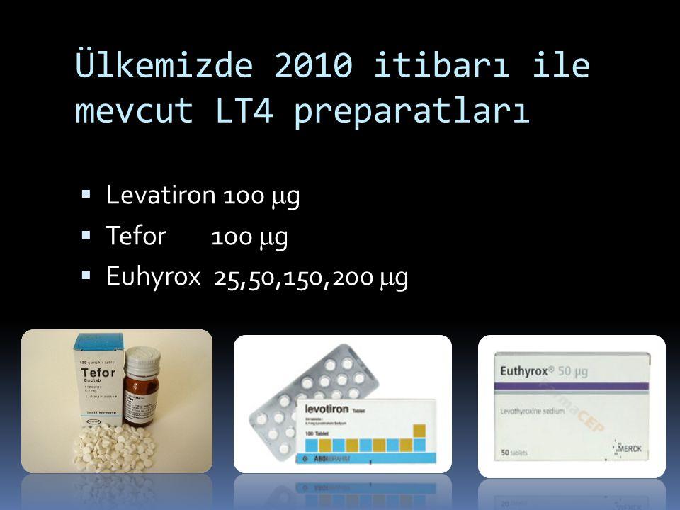 Ülkemizde 2010 itibarı ile mevcut LT4 preparatları  Levatiron 100  g  Tefor100  g  Euhyrox 25,50,150,200  g