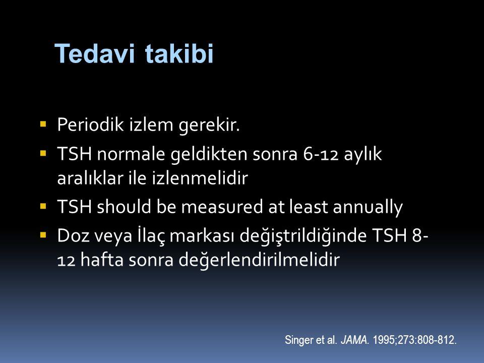  Periodik izlem gerekir.  TSH normale geldikten sonra 6-12 aylık aralıklar ile izlenmelidir  TSH should be measured at least annually  Doz veya İl