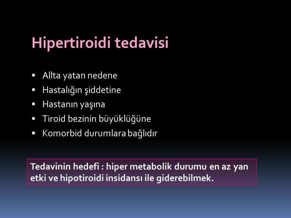 Hipertiroidi tedavisi  Allta yatan nedene  Hastalığın şiddetine  Hastanın yaşına  Tiroid bezinin büyüklüğüne  Komorbid durumlara bağlıdır Tedavin