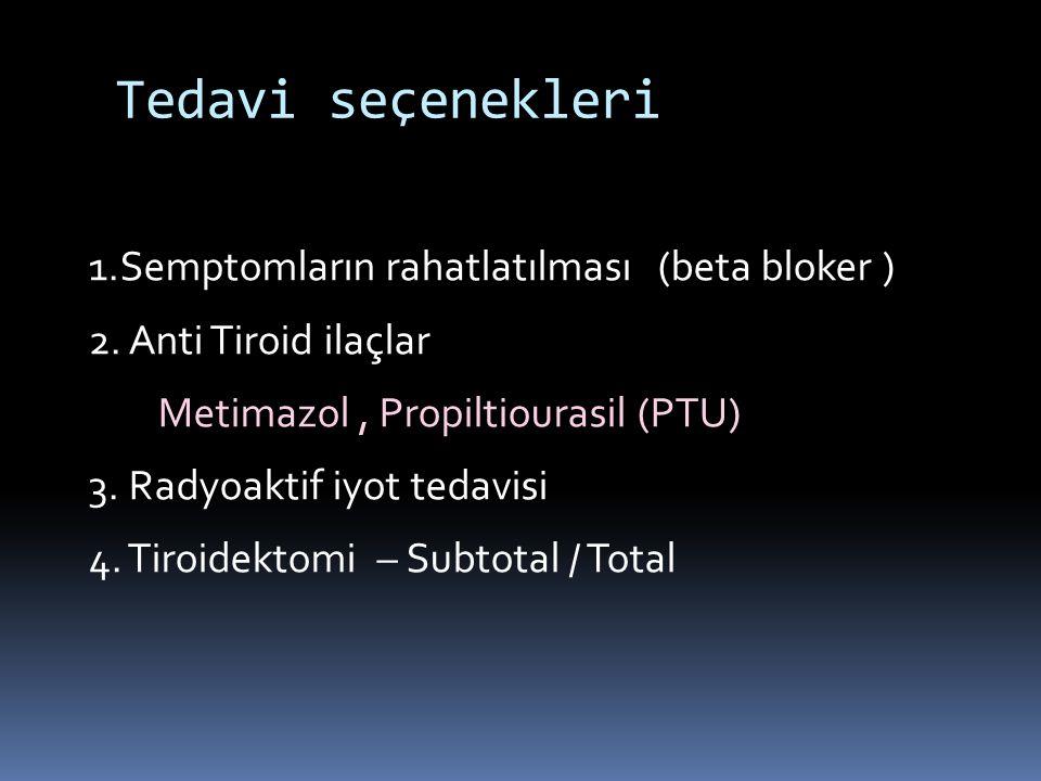 Tedavi seçenekleri 1.Semptomların rahatlatılması (beta bloker ) 2. Anti Tiroid ilaçlar Metimazol, Propiltiourasil (PTU) 3. Radyoaktif iyot tedavisi 4.