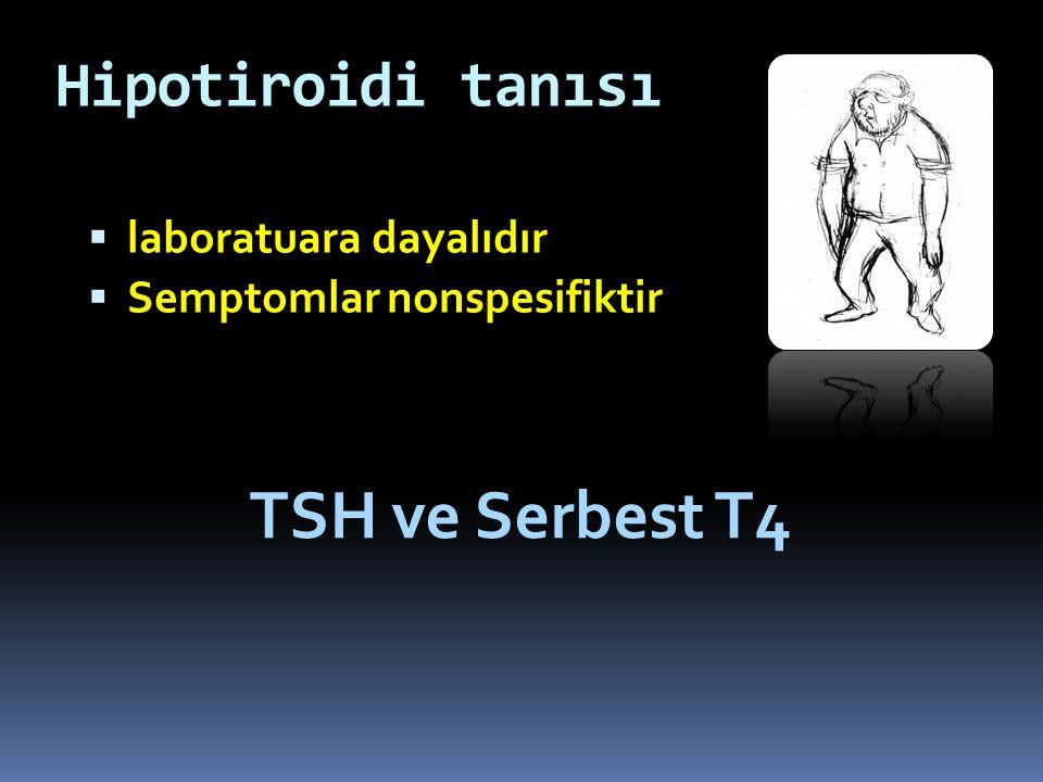 Hipotiroidi tanısı  laboratuara dayalıdır  Semptomlar nonspesifiktir TSH ve Serbest T4