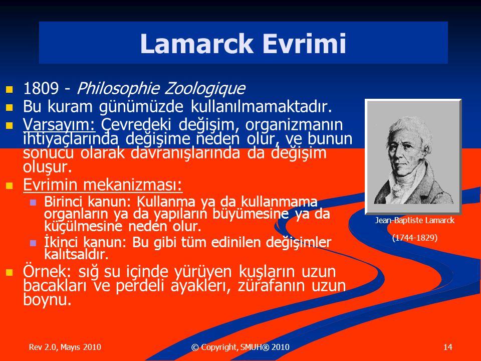 Rev 2.0, Mayıs 2010 14© Copyright, SMUH® 2010 Lamarck Evrimi 1809 - Philosophie Zoologique Bu kuram günümüzde kullanılmamaktadır.