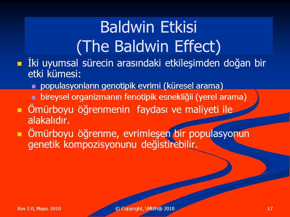 Rev 2.0, Mayıs 2010 17© Copyright, SMUH® 2010 Baldwin Etkisi (The Baldwin Effect) İki uyumsal sürecin arasındaki etkileşimden doğan bir etki kümesi: populasyonların genotipik evrimi (küresel arama) bireysel organizmanın fenotipik esnekliğii (yerel arama) Ömürboyu öğrenmenin faydası ve maliyeti ile alakalıdır.