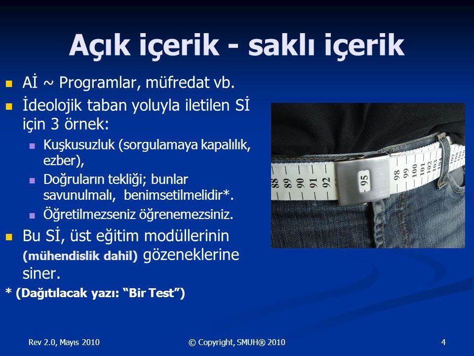 Rev 2.0, Mayıs 2010 25© Copyright, SMUH® 2010 Toplu yaşam > İş bölümü > Yönetme Yönetme arzusu > değer birlikteliği > güven uyandırma > MS'in harekete geçirilmesi > öğrenme ..