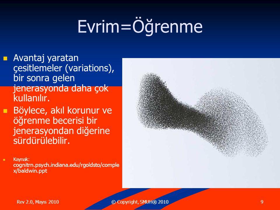 Rev 2.0, Mayıs 2010 10© Copyright, SMUH® 2010 (İleri konular) Hayat boyu öğrenme evrimleşen bir populasyonun genetik kompozisyonunu değiştiribilir.