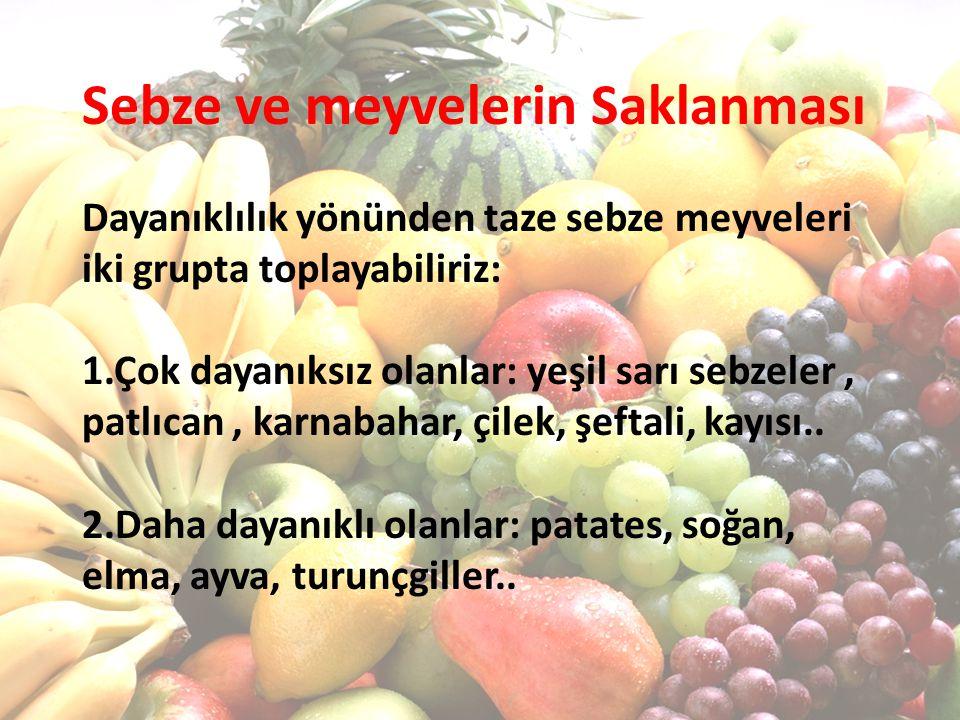 Sebze ve meyvelerin Saklanması Dayanıklılık yönünden taze sebze meyveleri iki grupta toplayabiliriz: 1.Çok dayanıksız olanlar: yeşil sarı sebzeler, pa