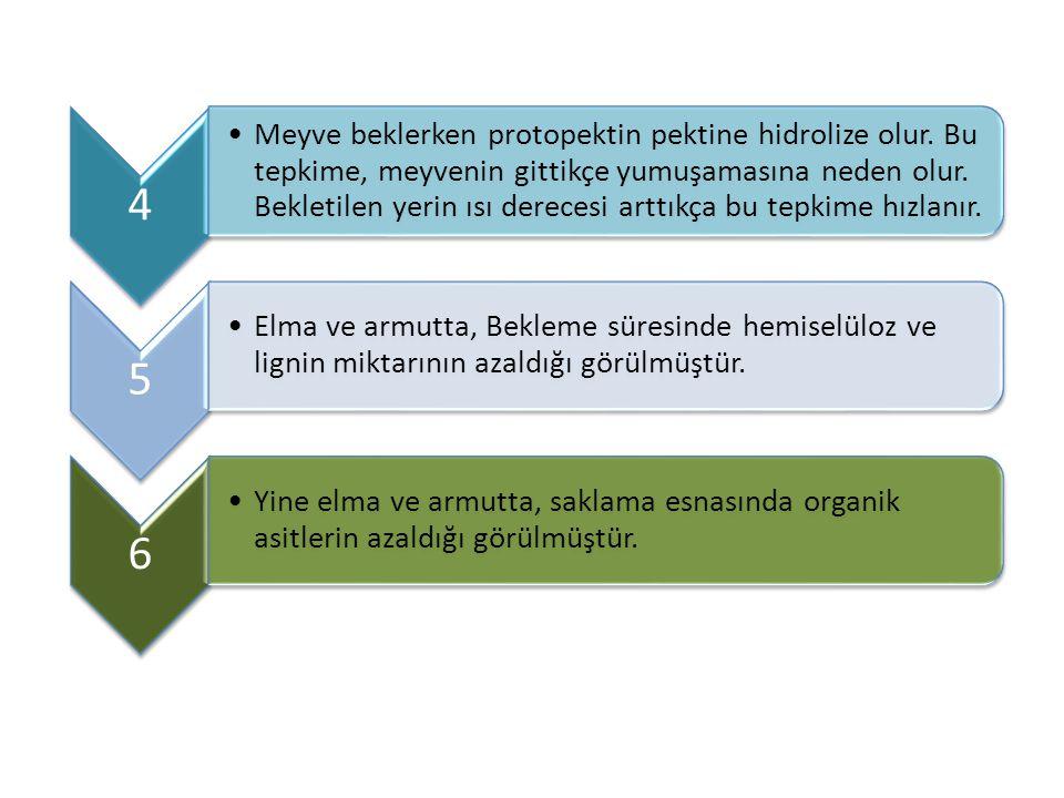 4 Meyve beklerken protopektin pektine hidrolize olur. Bu tepkime, meyvenin gittikçe yumuşamasına neden olur. Bekletilen yerin ısı derecesi arttıkça bu