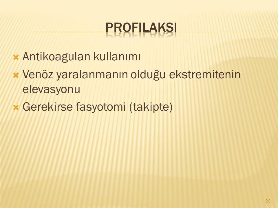  Antikoagulan kullanımı  Venöz yaralanmanın olduğu ekstremitenin elevasyonu  Gerekirse fasyotomi (takipte) 20