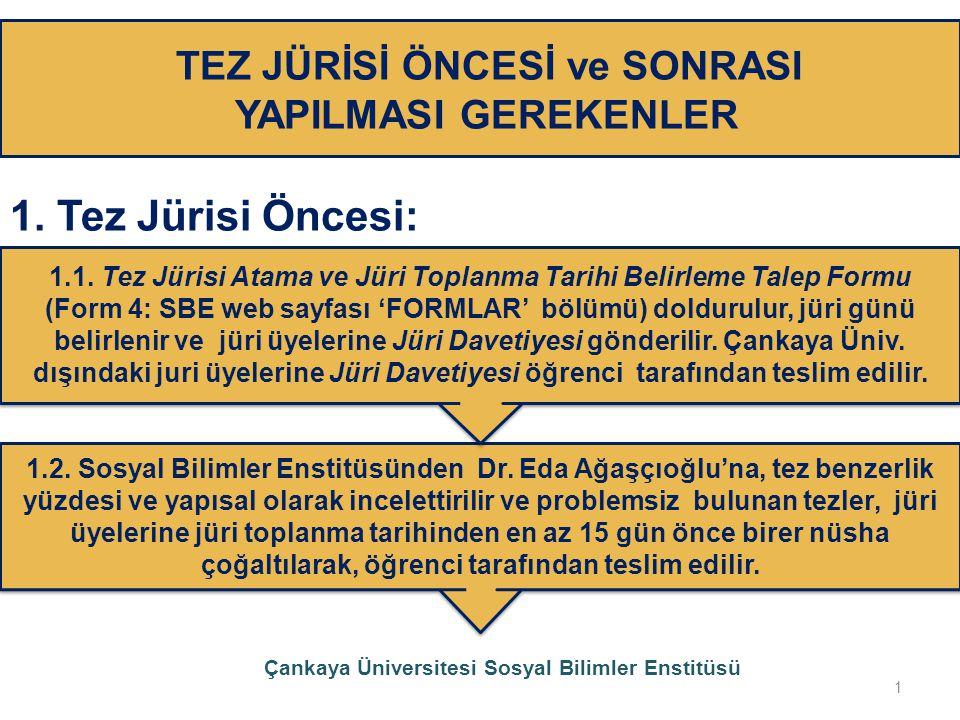 TEZ JÜRİSİ ÖNCESİ ve SONRASI YAPILMASI GEREKENLER 1. Tez Jürisi Öncesi: 1.2. Sosyal Bilimler Enstitüsünden Dr. Eda Ağaşçıoğlu'na, tez benzerlik yüzdes