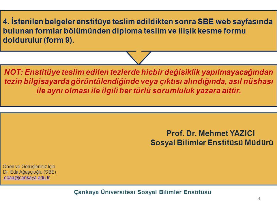 Çankaya Üniversitesi Sosyal Bilimler Enstitüsü 4 4. İstenilen belgeler enstitüye teslim edildikten sonra SBE web sayfasında bulunan formlar bölümünden