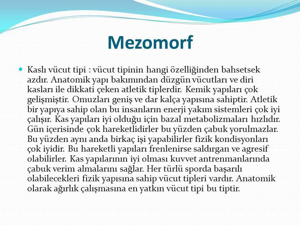Mezomorf Kaslı vücut tipi : vücut tipinin hangi özelliğinden bahsetsek azdır. Anatomik yapı bakımından düzgün vücutları ve diri kasları ile dikkati çe