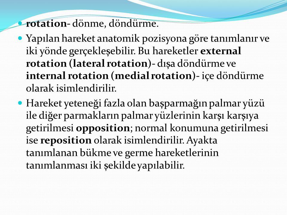 rotation- dönme, döndürme. Yapılan hareket anatomik pozisyona göre tanımlanır ve iki yönde gerçekleşebilir. Bu hareketler external rotation (lateral r