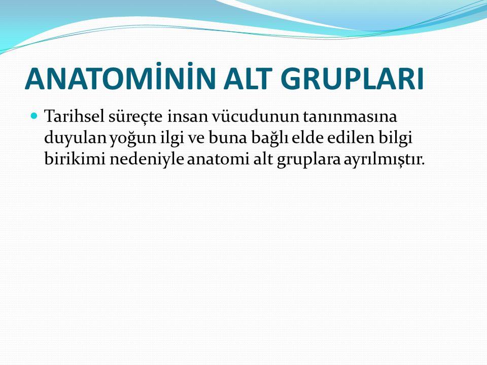 Klinik Anatomi (Anatomia Clinica): Sistematik, topografik ve cerrahi anatomiyi kapsayan bilgilerin klinikte canlı insan üzerinde uygulamasını yapan anatomi dalıdır.