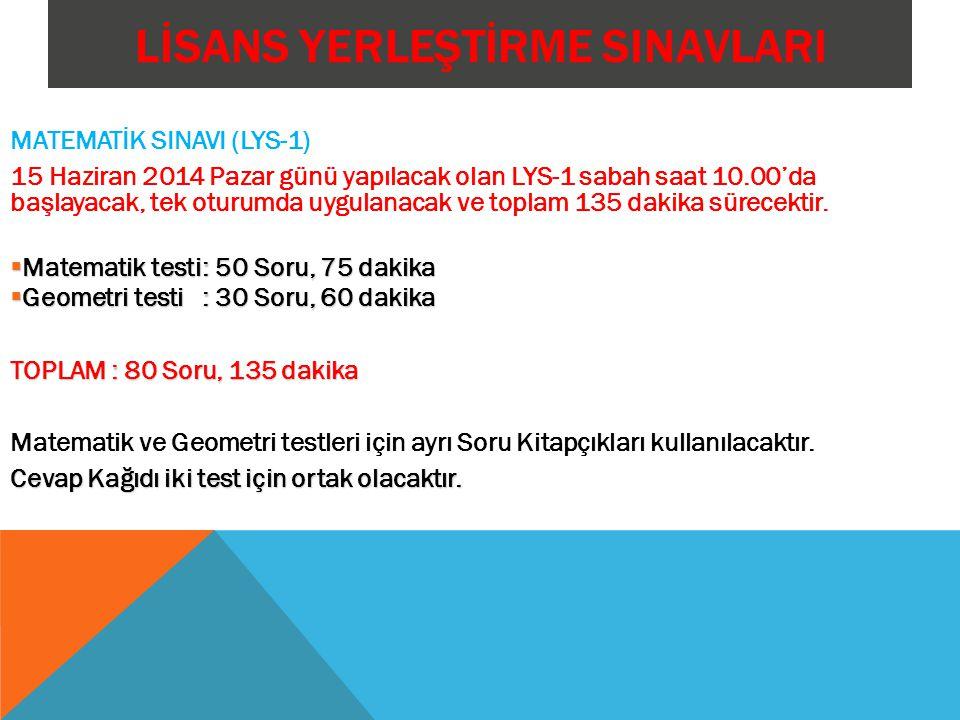 LİSANS YERLEŞTİRME SINAVLARI MATEMATİK SINAVI (LYS-1) 15 Haziran 2014 Pazar günü yapılacak olan LYS-1 sabah saat 10.00'da başlayacak, tek oturumda uygulanacak ve toplam 135 dakika sürecektir.