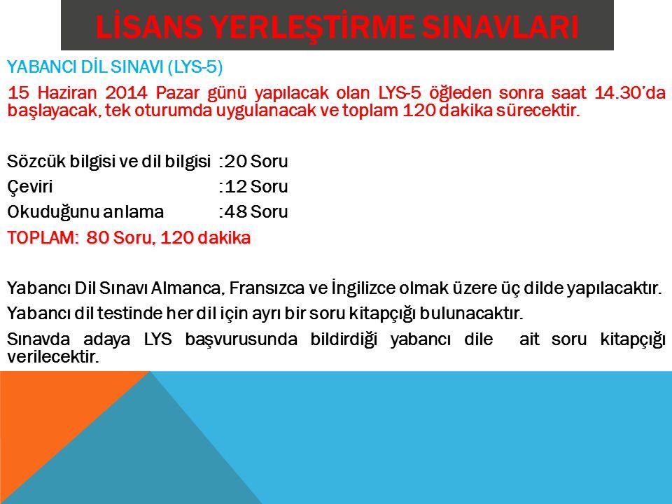 LİSANS YERLEŞTİRME SINAVLARI YABANCI DİL SINAVI (LYS-5) 15 Haziran 2014 Pazar günü yapılacak olan LYS-5 öğleden sonra saat 14.30'da başlayacak, tek oturumda uygulanacak ve toplam 120 dakika sürecektir.