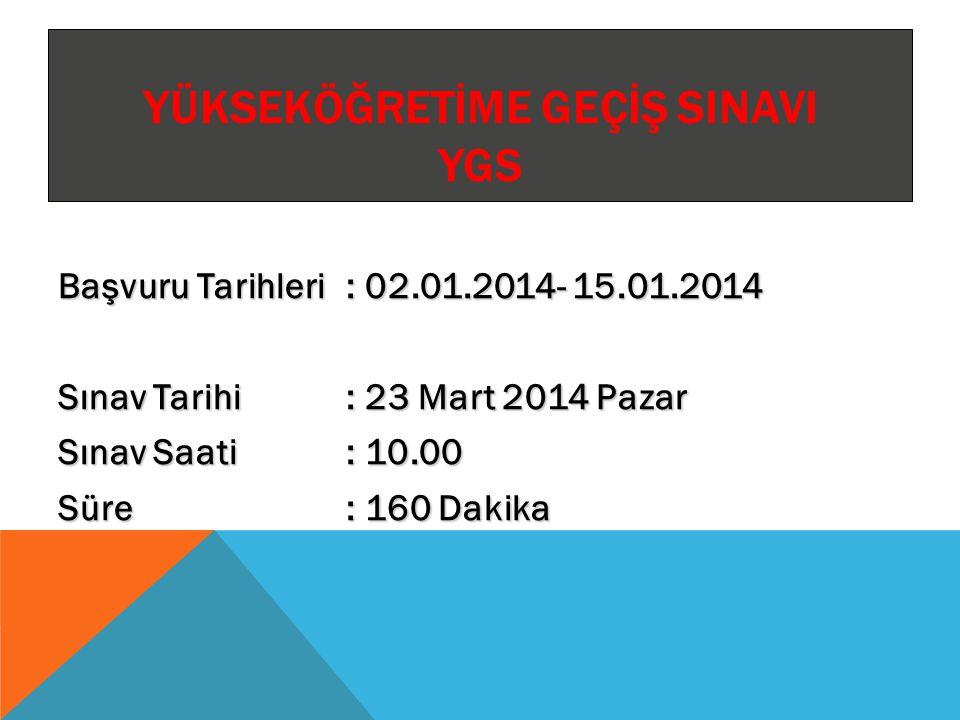LİSANS YERLEŞTİRME SINAVI (LYS) Lisans Yerleştirme Sınavları (LYS) Başvuru Tarihleri : 22 - 29 Nisan 2014 LYS-4: Lisans Yerleştirme Sınavı-4 (Sosyal Bilimler) Tarihi, Saati ve Süresi : 14 Haziran 2014(Cumartesi) 10.00, 135 dakika LYS-1: Lisans Yerleştirme Sınavı-1 (Matematik) Tarihi, Saati ve Süresi : 15 Haziran 2014(Pazar) 10.00, 135 dakika LYS-5: Lisans Yerleştirme Sınavı-5 (Yabancı Dil) Tarihi, Saati ve Süresi : 15 Haziran 2014(Pazar) 14.30, 120 dakika LYS-2: Lisans Yerleştirme Sınavı-2 (Fen Bilimleri) Tarihi, Saati ve Süresi : 21 Haziran 2014 (Cumartesi) 10.00, 135 dakika LYS-3: Lisans Yerleştirme Sınavı-3 (Edebiyat-Coğrafya) Tarihi, Saati ve Süresi : 22 Haziran 2014(Pazar) 10.00, 120 dakika