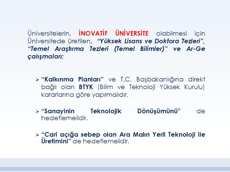 """Üniversitelerin, İNOVATİF ÜNİVERSİTE olabilmesi için Üniversitede üretilen, """"Yüksek Lisans ve Doktora Tezleri"""", """"Temel Araştırma Tezleri (Temel Biliml"""