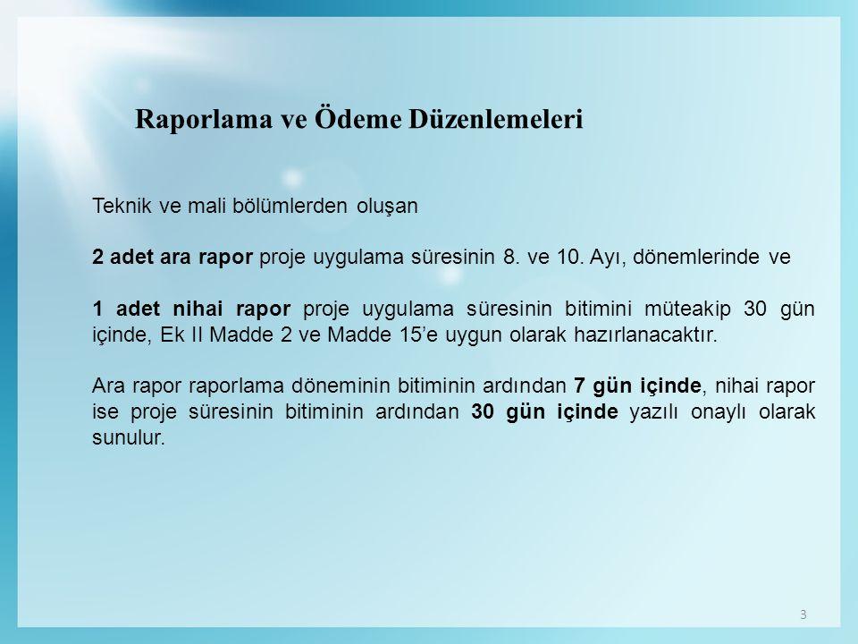 3 Raporlama ve Ödeme Düzenlemeleri Teknik ve mali bölümlerden oluşan 2 adet ara rapor proje uygulama süresinin 8.