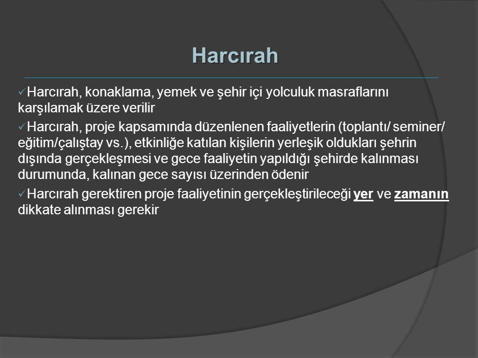 Harcırah Harcırah, konaklama, yemek ve şehir içi yolculuk masraflarını karşılamak üzere verilir Harcırah, proje kapsamında düzenlenen faaliyetlerin (t
