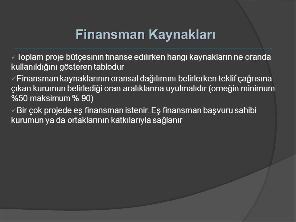 Finansman Kaynakları Toplam proje bütçesinin finanse edilirken hangi kaynakların ne oranda kullanıldığını gösteren tablodur Finansman kaynaklarının or