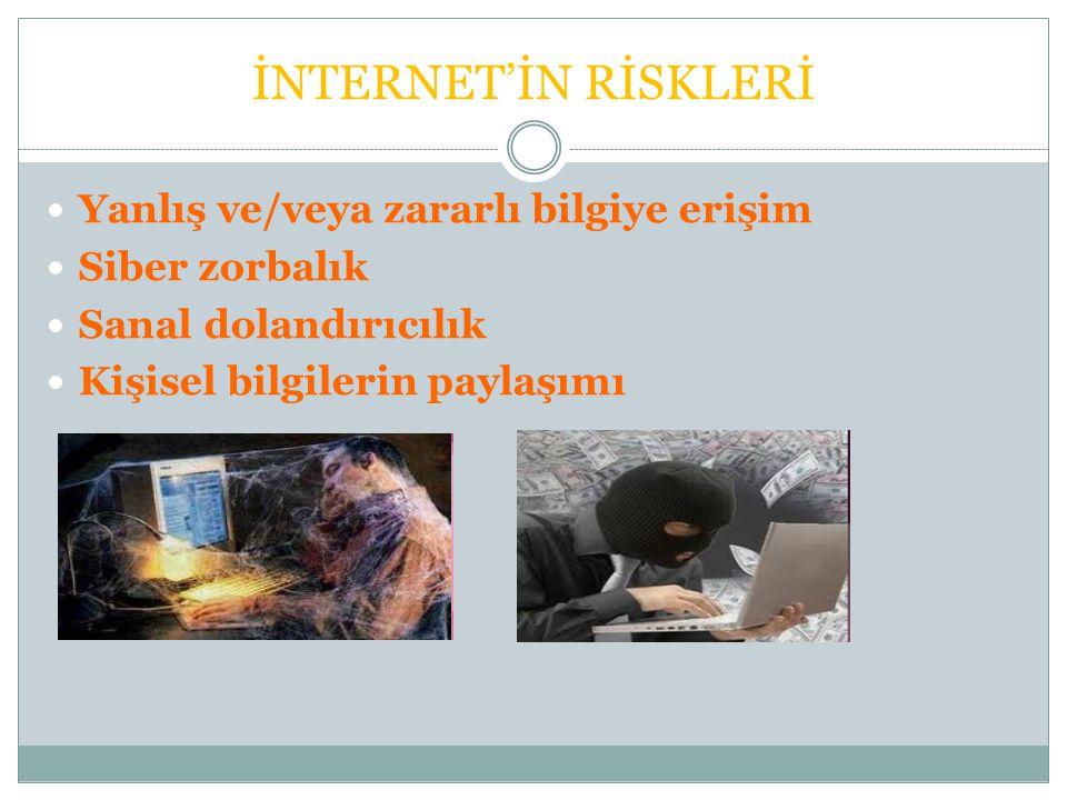 İNTERNET'İN RİSKLERİ Yanlış ve/veya zararlı bilgiye erişim Siber zorbalık Sanal dolandırıcılık Kişisel bilgilerin paylaşımı