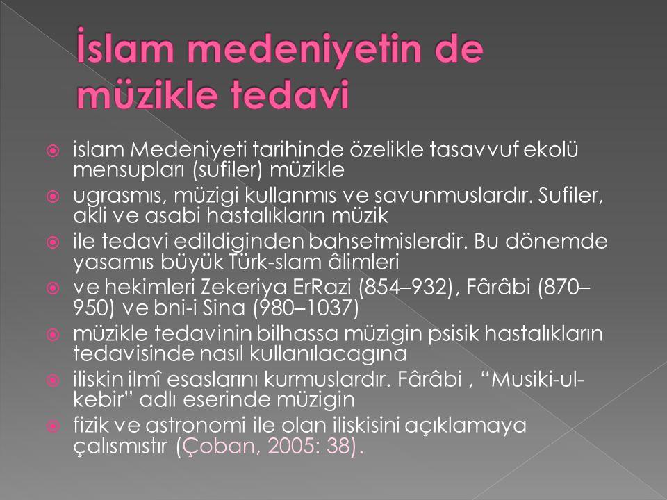  islam Medeniyeti tarihinde özelikle tasavvuf ekolü mensupları (sufiler) müzikle  ugrasmıs, müzigi kullanmıs ve savunmuslardır.