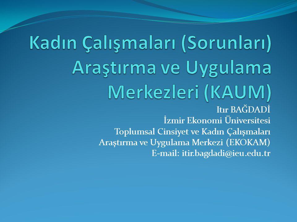 Itır BAĞDADİ İzmir Ekonomi Üniversitesi Toplumsal Cinsiyet ve Kadın Çalışmaları Araştırma ve Uygulama Merkezi (EKOKAM) E-mail: itir.bagdadi@ieu.edu.tr