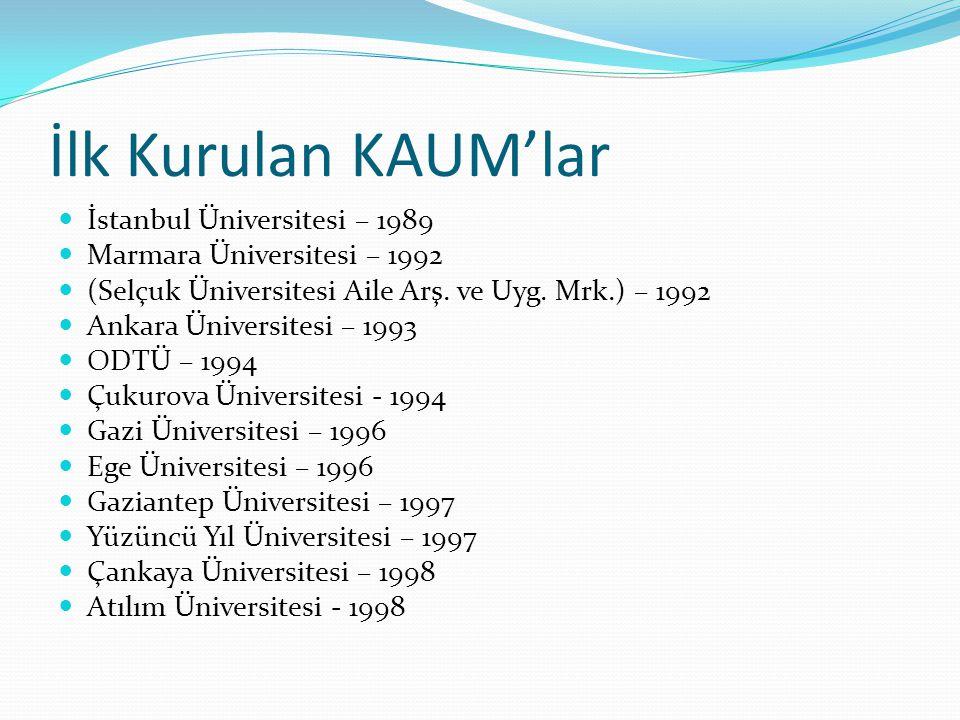 İlk Kurulan KAUM'lar İstanbul Üniversitesi – 1989 Marmara Üniversitesi – 1992 (Selçuk Üniversitesi Aile Arş.