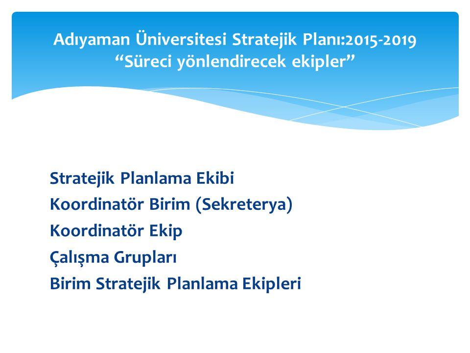 Stratejik Planlama Ekibi Koordinatör Birim (Sekreterya) Koordinatör Ekip Çalışma Grupları Birim Stratejik Planlama Ekipleri Adıyaman Üniversitesi Stratejik Planı:2015-2019 Süreci yönlendirecek ekipler