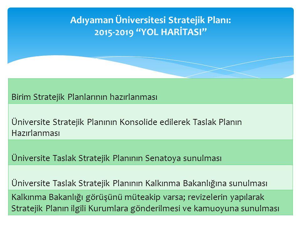 Birim Stratejik Planlarının hazırlanması Üniversite Stratejik Planının Konsolide edilerek Taslak Planın Hazırlanması Üniversite Taslak Stratejik Planının Senatoya sunulması Üniversite Taslak Stratejik Planının Kalkınma Bakanlığına sunulması Kalkınma Bakanlığı görüşünü müteakip varsa; revizelerin yapılarak Stratejik Planın ilgili Kurumlara gönderilmesi ve kamuoyuna sunulması Adıyaman Üniversitesi Stratejik Planı: 2015-2019 YOL HARİTASI