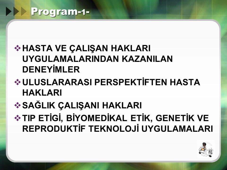Program- 1 -  HASTA VE ÇALIŞAN HAKLARI UYGULAMALARINDAN KAZANILAN DENEYİMLER  ULUSLARARASI PERSPEKTİFTEN HASTA HAKLARI  SAĞLIK ÇALIŞANI HAKLARI  T