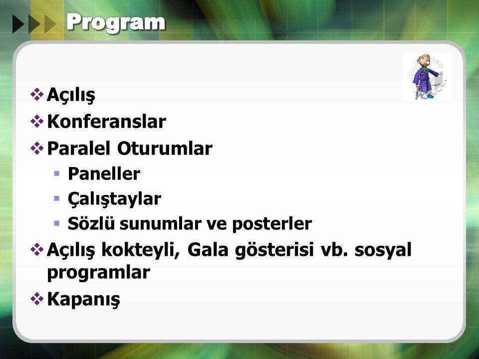  Açılış  Konferanslar  Paralel Oturumlar  Paneller  Çalıştaylar  Sözlü sunumlar ve posterler  Açılış kokteyli, Gala gösterisi vb. sosyal progra