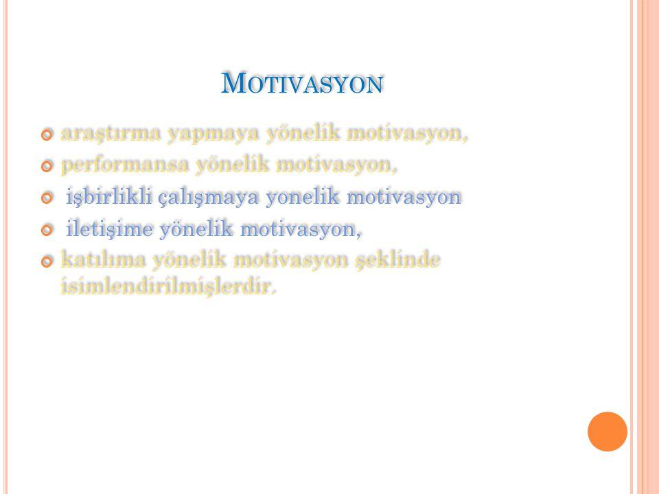 araştırma yapmaya yönelik motivasyon, performansa yönelik motivasyon, işbirlikli çalışmaya yonelik motivasyon iletişime yönelik motivasyon, katılıma yönelik motivasyon şeklinde isimlendirilmişlerdir.