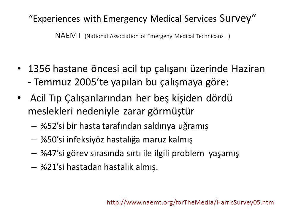 """Experiences with Emergency Medical Services Survey"" NAEMT (National Association of Emergeny Medical Technicans ) 1356 hastane öncesi acil tıp çalışan"
