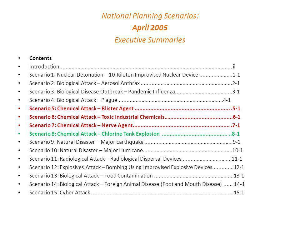 National Planning Scenarios: April 2005 Executive Summaries Contents Introduction.....................................................................