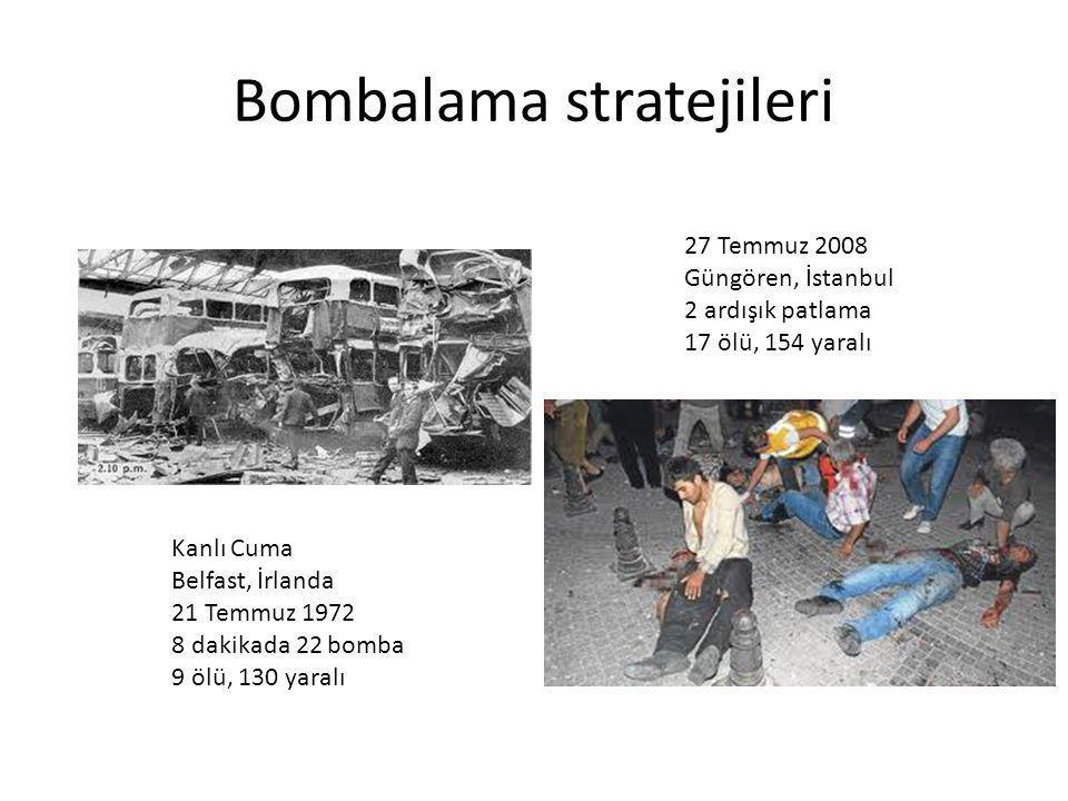 Bombalama stratejileri Kanlı Cuma Belfast, İrlanda 21 Temmuz 1972 8 dakikada 22 bomba 9 ölü, 130 yaralı 27 Temmuz 2008 Güngören, İstanbul 2 ardışık pa