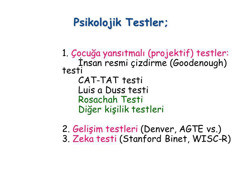 Psikolojik Testler; 1. Çocuğa yansıtmalı (projektif) testler: İnsan resmi çizdirme (Goodenough) testi CAT-TAT testi Luis a Duss testi Rosachah Testi D