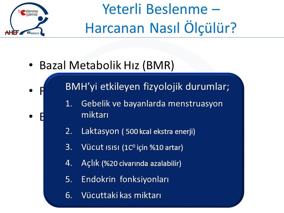 Yeterli Beslenme – Harcanan Nasıl Ölçülür? Bazal Metabolik Hız (BMR) Fiziksel Aktivite (PA) Besinlerin Termik Etkisi (TEF) BMH'yi etkileyen fizyolojik