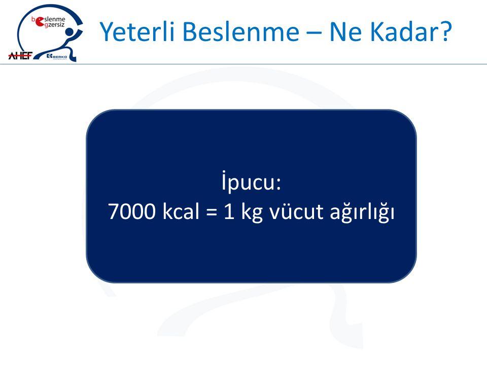Yeterli Beslenme – Ne Kadar? İpucu: 7000 kcal = 1 kg vücut ağırlığı